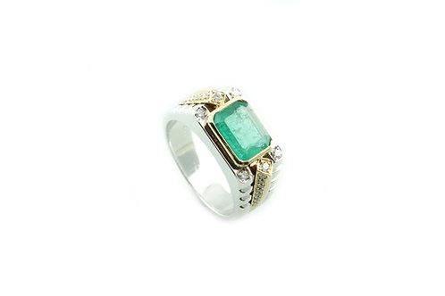 2 Tone Emerald and Diamond Ring