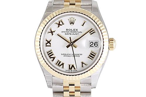 Rolex Datejust 31mm Steel& Yellow Gold White Roman Numeral Dial Jubilee Bracelet