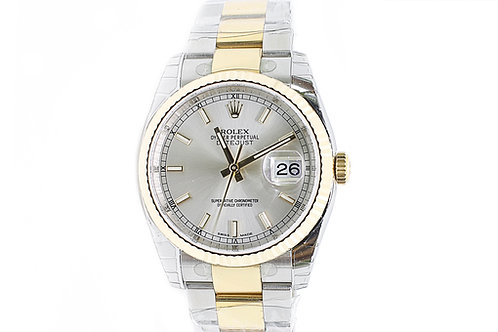 Rolex Datejust 36mm Steel and Gold Oyster Bracelet with Silver Dial