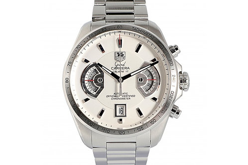 Tag Heuer Grand Carrera Chronograph Silver Dial 43mm Steel