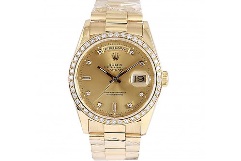 Rolex Day-Date Champagne Diamond Dial 36mm Yellow Gold & Diamonds