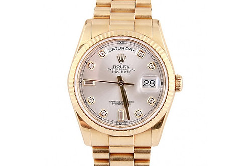 Rolex President Day-Date Silver Diamond Dial 36mm Yellow Gold