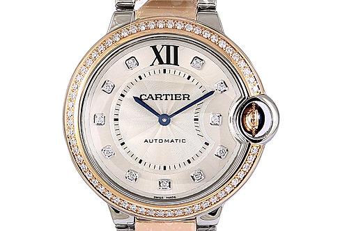 Cartier Ballon Bleu Steel & Rose Gold with Diamonds