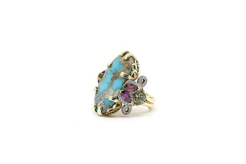 Turquoise, Green Sapphire, Rhodolite and Diamond Ring