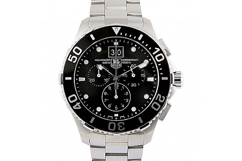 Tag Heuer Aquaracer Grande Date Chronograph Black Dial 43mm Steel
