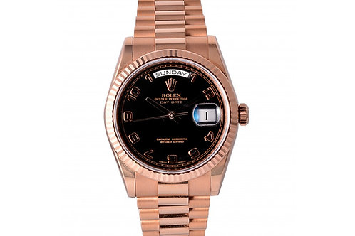 Rolex Day-Date President Black Dial With Numbers 36mm Rose Gold