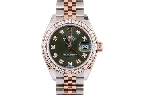 Rolex Datejust Green Diamond Dial 28mm Steel, Rose Gold & Diamonds