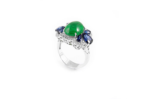 Cabochon Emerald and Sapphire Diamond Ring