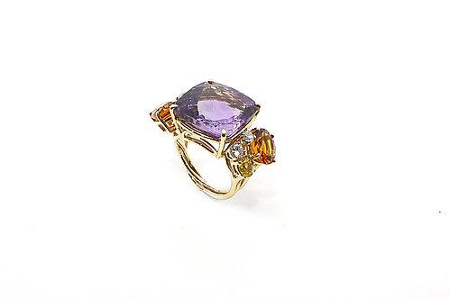 Amethyst, Citrine, Orange Sapphire and Diamond Rose Gold Ring