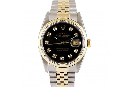 Rolex Datejust Black Diamond Dial 36mm Steel & Yellow Gold