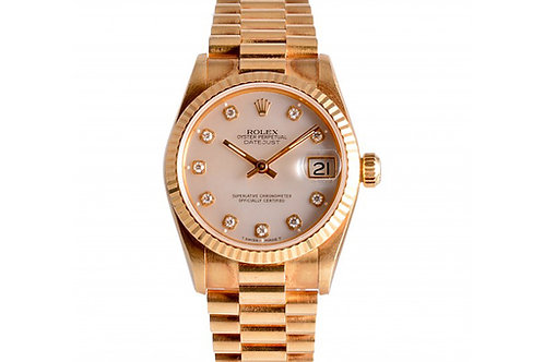 Rolex Datejust President Mother of Pearl With Diamond Dial 31mm Yellow Gold