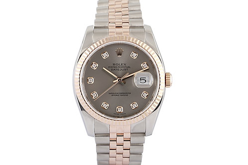 Rolex Datejust Silver Diamond Dial, Steel & Rose Gold 36mm