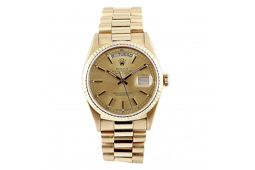Rolex Day-Date President Champagne Dial 36mm Yellow Gold