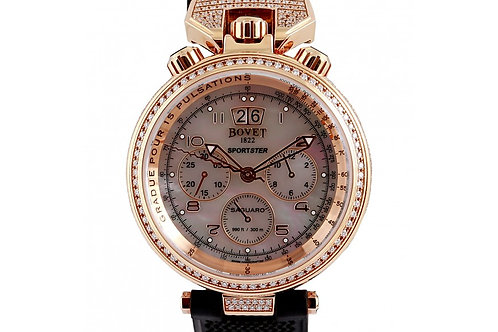 Bovet Saguro Chronograph White Mother of Pearl Dial 46mm Rose Gold & Diamonds