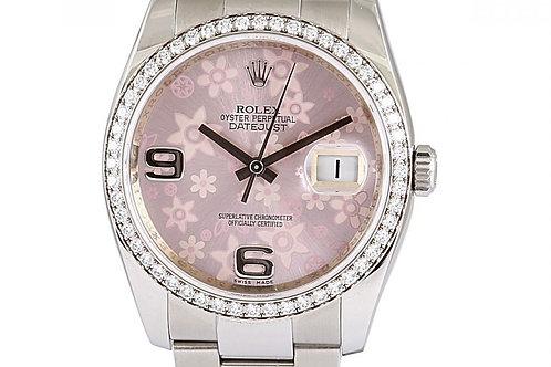 Rolex Datejust Pink Floral Dial Diamond Bezel Steel 36mm