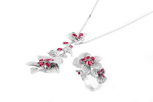 Diamond Ruby Pendant and Ring