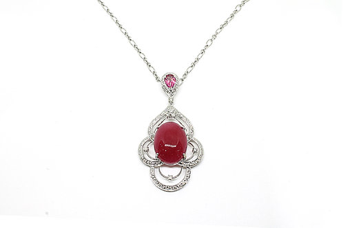Pink Topaz, Colour Stone and Diamond Pendant