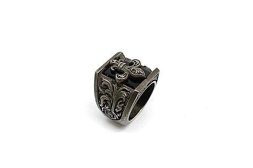 Knight Rider Fleur De Lis Mens Ring with Onyx & Silver