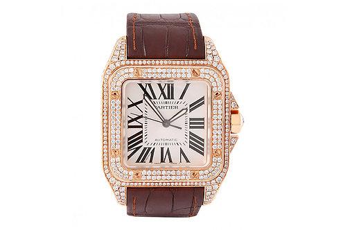 Cartier Santos 100 Diamond 18kt Rose Gold Burgundy