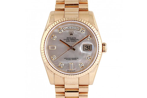 Rolex Day-Date President Mother of Pearl Diamond Dial 36mm Yellow Gold