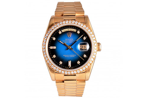 Rolex Day-Date President Black-Blue With Diamond Dial 36mm Yellow Gold & Diamond