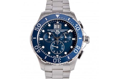 Tag Heuer Aquaracer Grande Date Chronograph Blue Dial 43mm Steel