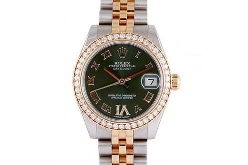 Rolex Datejust Green Roman Dial 31mm Steel, Diamonds & Yellow Gold