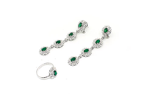 White Gold with Diamonds and Emerald Ring and Earring