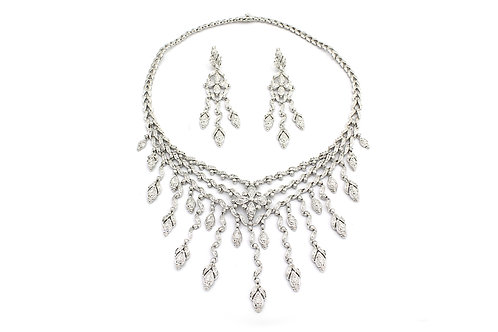 Designer Curls White Gold and Diamond Necklace and Earrings