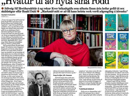 Heilsíðuviðtal við þýðanda Roalds Dahl í Morgunblaðinu í dag
