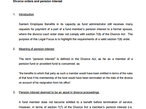 Subject: Newsletter - 1st edition - Divorces and Pension/Provident Funds