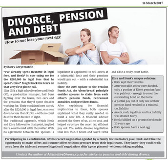 Divorce, Pension and Debt