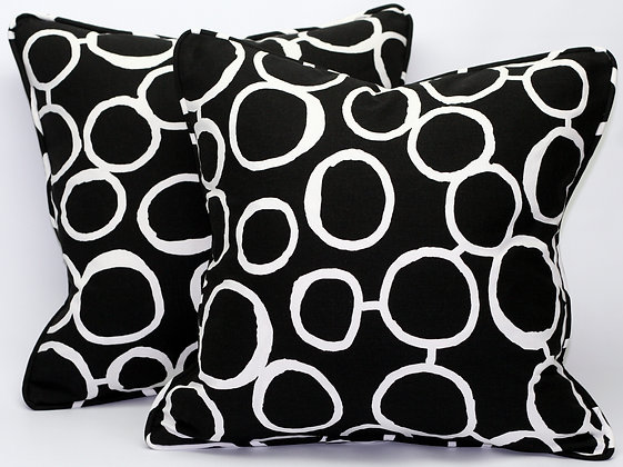 Freehand Black Throw Pillow Cover