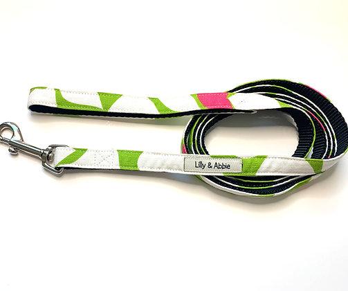 Dog Leash - Flowers Green + Pink