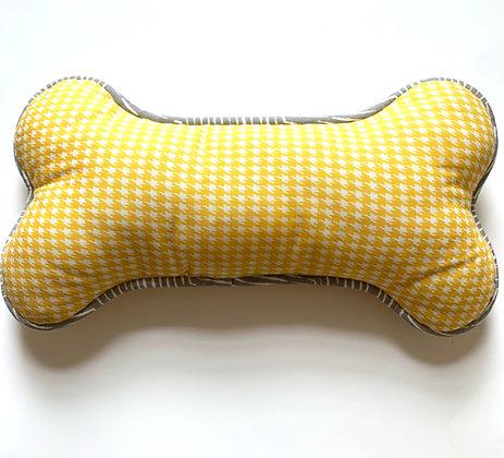 Dog Bone Pillow - Yellow Houndstooth