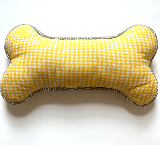 Dog Bone Pillow - Yellow Houndstooth