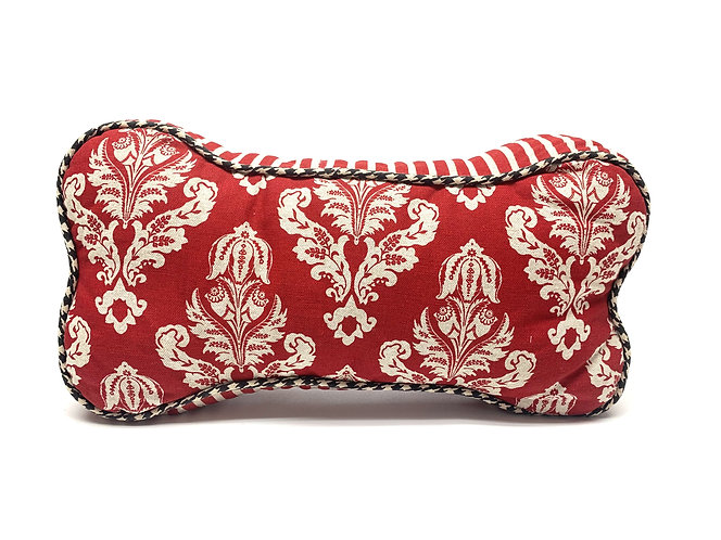 Dog Bone Pillow - Red Floral