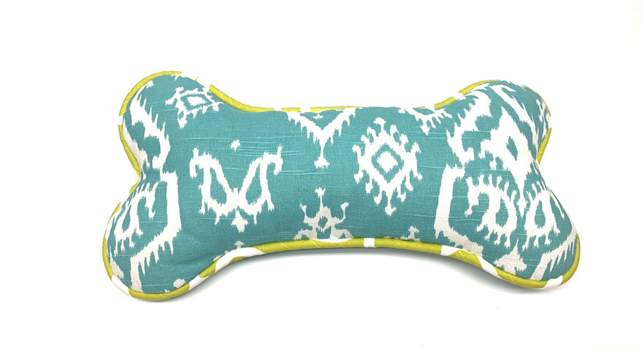 Dog Bone Pillow - Blue + Green