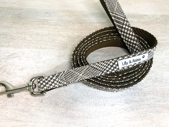 Dog Leash - Houndstooth Brown