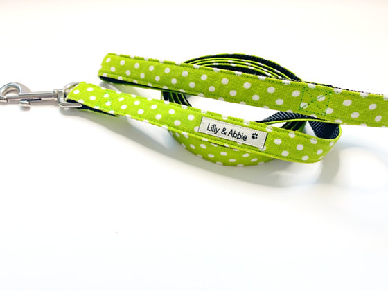 Dog Leash - Green Polka Dots
