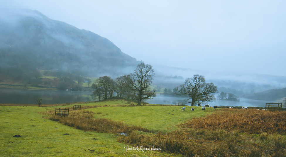 The misty valley of Lake District