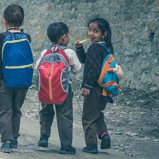 Village kids enroute to school