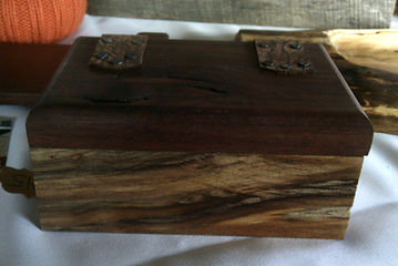 Spalted Maple Keepsake Box with Black Walnut Lid and Leather Hinges and Lining