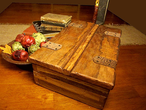 Large Reclaimed Oak Box with Leather Hinges