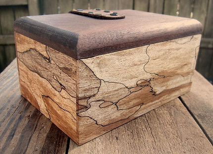Spalted Maple Keepsake Box with Walnut Lid and Leather Hinges