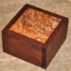 Walnut Box with Maple Burl Split Swivel Lid