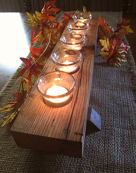 Reclaimed Wormy Chestnut Candle Runner with Walnut Feet