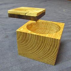 Reclaimed Oak Ring Box with Walnut and Spalted Maple Swivel Lid