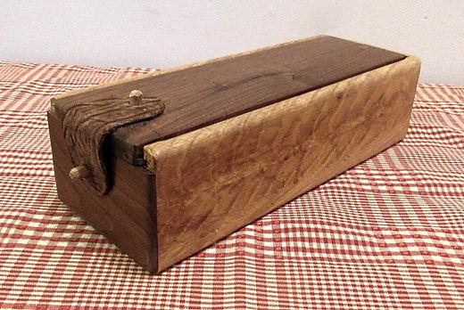 Oak Crotch Wood Box with Sliding Walnut Lid and Leather Clasp
