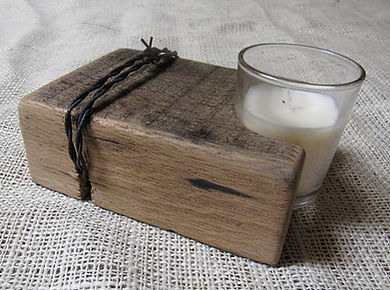 Barn Beam and Barbed Wire Candle Holder